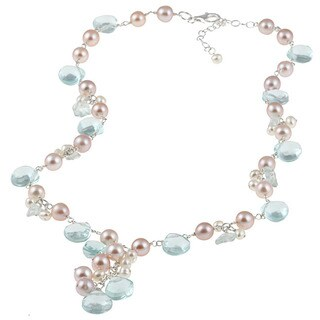 M by Miadora Sterling Silver Blue Topaz, Glass and FW Pearl Necklace (4-7 mm)
