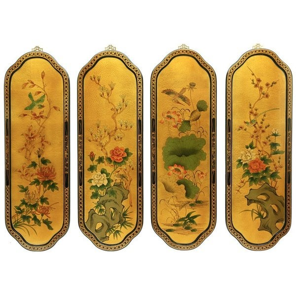 Set of Four Golden Birds/ Flowers Wall Plaques (China)