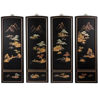 Set of Four Japanese Landscape Wall Plaques (China)