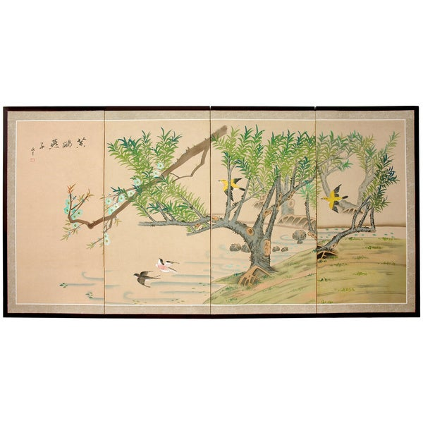Silk 'Birds in the Garden 1' Painting (China)