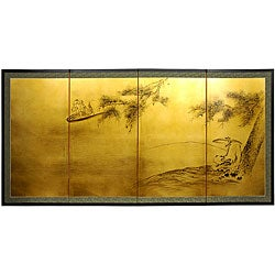 Gold Leaf 'Fishing for Life' Silk Painting (China)