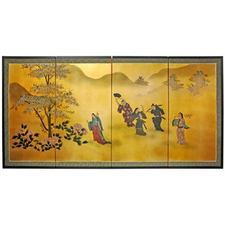 Gold Leaf 'Flower Dance' Silk Painting (China)