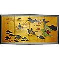 Gold Leaf 'View from the Heavens' Silk Room Divider (China)