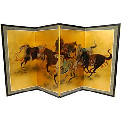 Gold Leaf 'Riders in the Storm' Silk Painting (China)