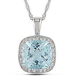 Miadora 10k White Gold Sky Blue Topaz and 1/10ct TDW Diamond Necklace