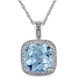 Miadora 10k White Gold Sky Blue Topaz and 1/10ct TDW Diamond Necklace