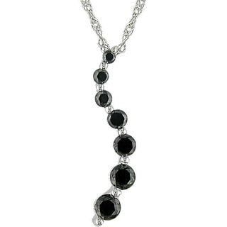M by Miadora 10k Gold 1/4ct TDW Black Diamond Journey Necklace with Bonus Earrings