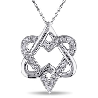 Miadora 10k White Gold 1/4ct TDW Diamond Heart Necklace (I-J, I2-I3)