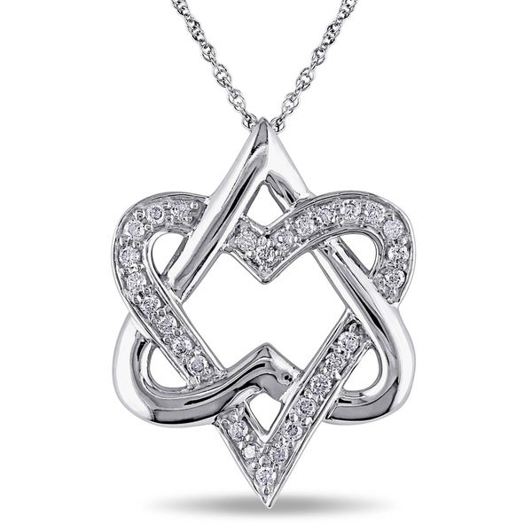 Miadora 10k White Gold 1/4ct TDW Diamond Heart Necklace (I-J, I2-I3)
