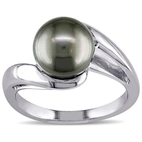 Miadora 10k White Gold Black Tahitian Pearl Ring (8-9 mm)