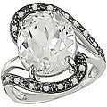 Miadora 10k White Gold White Topaz and 1/10ct TDW Diamond Ring