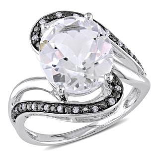Miadora 10k White Gold White Topaz and 1/10ct TDW Diamond Ring