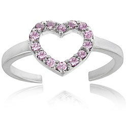Icz Stonez 18k Gold/ Sterling Silver Pink CZ Heart Toe Ring
