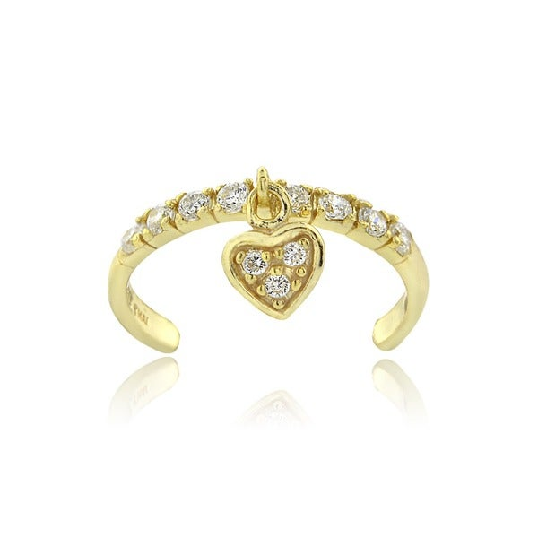Icz Stonez 18k Gold/ Silver CZ Dangling Heart Toe Ring