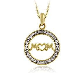 DB Designs 18k Gold/ Silver Diamond Accent 'Mom' Necklace