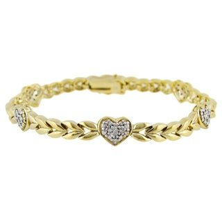 DB Designs 18k Gold/ Silver Diamond Accent Heart Bracelet