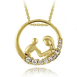 Icz Stonez 18k Gold over Sterling Silver CZ Necklace of mother and child