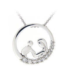 Icz Stonez Sterling Silver CZ Necklace of mother and child
