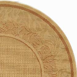 Safavieh Indoor/ Outdoor Beachview Natural/ Terracotta Rug (5'3 Round)