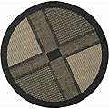 Safavieh Indoor/ Outdoor Lakeview Black/ Sand Rug (6'7 Round)