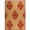 Indoor/ Outdoor St. Barts Natural/ Red Rug (6'7 x 9'6)