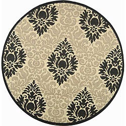 Safavieh Indoor/ Outdoor St. Barts Sand/ Black Rug (6'7 Round)