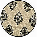 Indoor/ Outdoor St. Barts Sand/ Black Rug (6'7 Round)