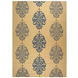 Indoor/ Outdoor St. Martin Natural/ Blue Rug (7'10 x 11')