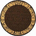 Indoor/ Outdoor Kaii Chocolate/ Natural Rug (5'3 Round)