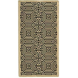 Indoor/ Outdoor Matrix Sand/ Black Rug (2'7 x 5')
