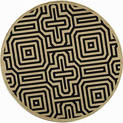 Safavieh Indoor/ Outdoor Matrix Sand/ Black Rug (6'7 Round)