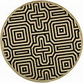 Indoor/ Outdoor Matrix Sand/ Black Rug (6'7 Round)