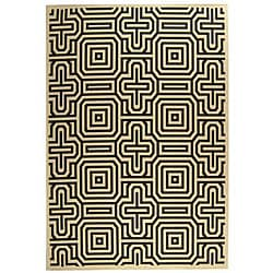 Indoor/ Outdoor Matrix Sand/ Black Rug (5'3 x 7'7)