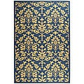 Indoor/ Outdoor Seaview Natural/ Blue Rug (6'7 x 9'6)