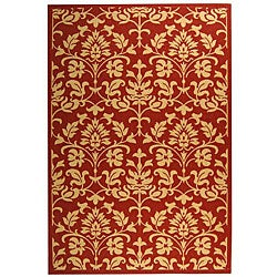 Indoor/ Outdoor Seaview Red/ Natural Rug (6'7 x 9'6)