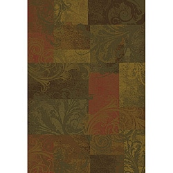 Brown/ Red Polypropylene Rug (5'3 x 7'6)