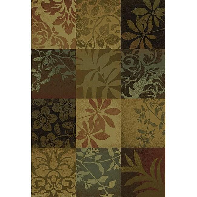 Del Mar Brown Floral Rug (6'7 x 9'6)