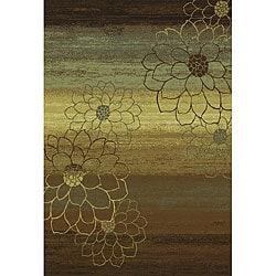 Machine-made Blue/ Brown/ Gold Rug (1'10 x 7'6)
