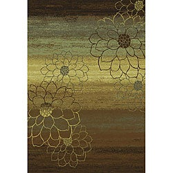 Machine-made Blue/ Brown/ Gold Polypropylene Rug (6'7 x 9'6)