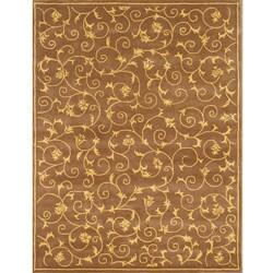 Alliyah Handmade Brown New Zealand Blend Wool Rug (5' x 8')