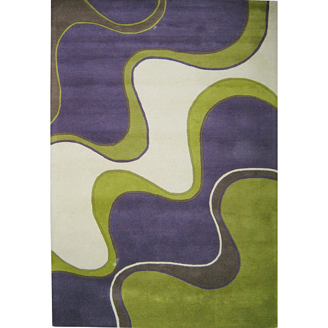 Alliyah Handmade Large Waves Purple New Zealand Blend Wool Rug Wool Rug (5' x 8')