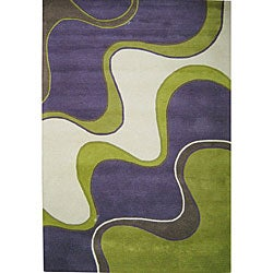 Alliyah Handmade Large Waves Purple New Zealand Blend Wool Rug Wool Rug (5' x 8')
