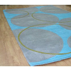 Alliyah Handmade Rings and Circles New Zealand Blend Wool Rug Wool Rug (5' x 8')