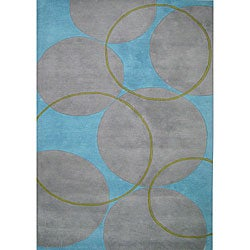 Alliyah Handmade Rings and Circles New Zealand Blend Wool Rug (5' x 8')