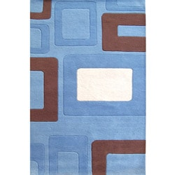 Alliyah Handmade Multi Boxes Blue New Zealand Blend Wool Rug (5' x 8')