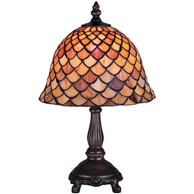 tiffany style fishscale 13 5 inch mini lamp overstock shopping. Black Bedroom Furniture Sets. Home Design Ideas