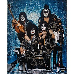 KISS Band Signed Group Pose Aqua 16x20 Photograph