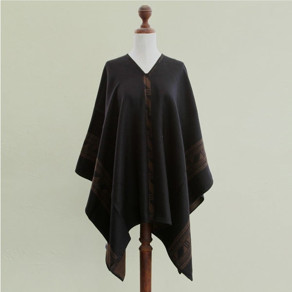 'Brown Black Glyphs' Alpaca Wool Reversible Poncho (Peru)