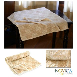 'Hypnotic Inca in Tan' Alpaca wool Throw Blanket (Peru)