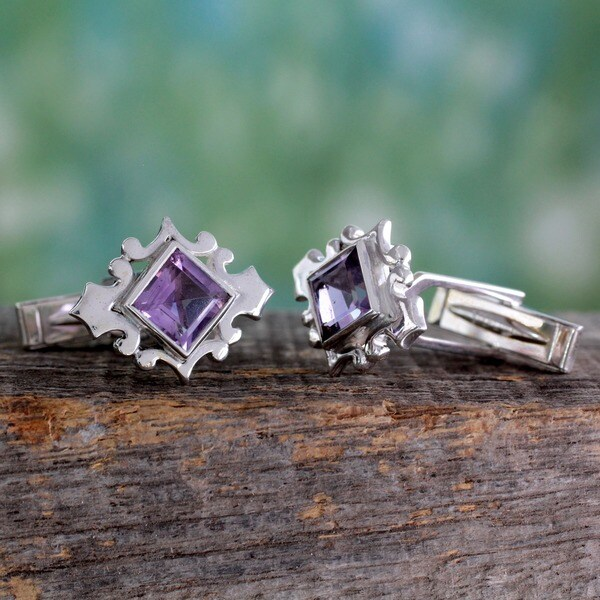 Amethyst and Silver 'Orchid' Cufflinks (India)